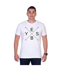 camiseta yes basic t shirt estampada gola redonda branca