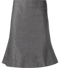 chanel pre-owned ruffled hem knee-length skirt - grey