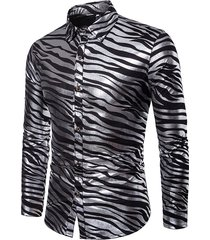 camicia da uomo slim slim a maniche lunghe a zampa d'abbronzatura lucida