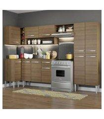 cozinha completa de canto reto madesa emilly sun com armário e balcão 11 portas 1 gaveta rustic