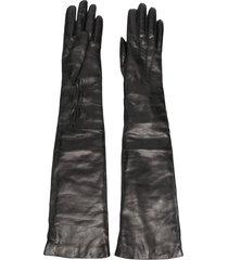 ann demeulemeester cashmere-trimmed lambskin gloves - black