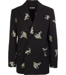 red valentino black double-breasted blazer with leaf embroidery