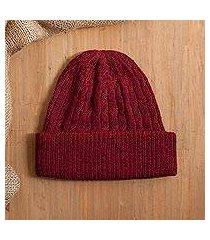100% alpaca knit hat, 'comfy in burgundy' (peru)