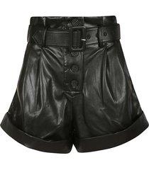 self-portrait black faux leather shorts