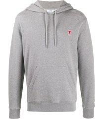 ami ami de coeur patch hooded sweater - grey