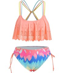 plus size laser cut strappy ruched bikini swimsuit