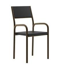 cadeira de escritório tubos ouro velho napa preta carraro