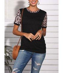 botón de patchwork de leopardo diseño crew cuello camiseta de manga corta