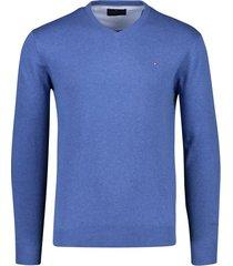 portofino pullover katoen v-hals jeansblauw