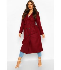 covered buckle belted wool look trench coat, burgundy