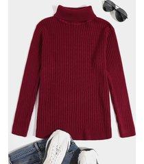 suéter casual de cuello alto grueso tejido de color sólido para hombre