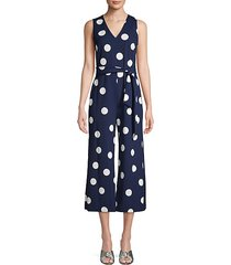 self-tie polka dot jumpsuit