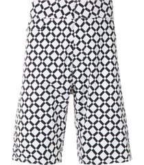 amir slama geometric print swim shorts - black