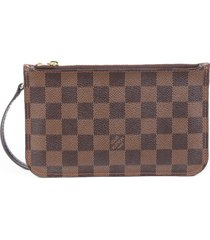 louis vuitton neverfull pouch brown damier ebene coated canvas bag brown sz: m
