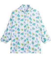 mönstrad skjorta med trekvartslång ärm