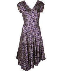 josie natori jacquard swing dress - purple