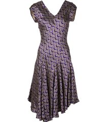 josie natori jacquard swing dress - purple