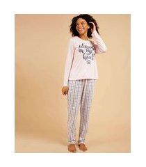 pijama feminino estampa xadrez manga longa marisa