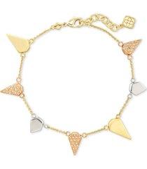 kendra scott 14k gold-plated pave spiked charm bracelet
