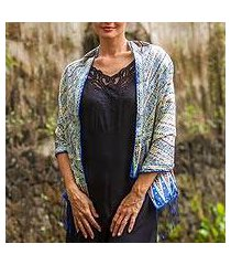 batik silk scarf, 'parang majesty' (indonesia)