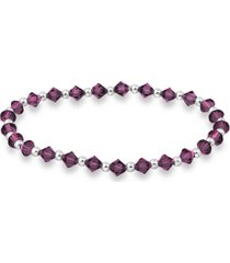 crystal beaded stretch bracelet in sterling silver
