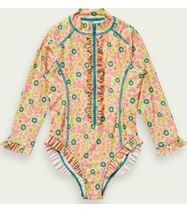 scotch & soda printed long-sleeved swimsuit