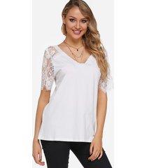 camisetas de manga corta con cuello en v y encaje blanco