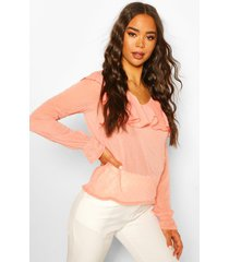 dobby mesh chiffon frill blouse, coral