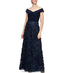 alex evenings off-the-shoulder 3d-flower a-line dress