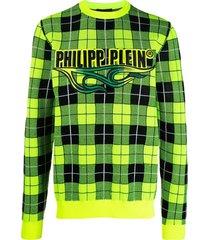philipp plein tartan pullover - yellow