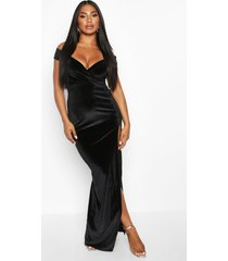 velvet bardot maxi dress, black