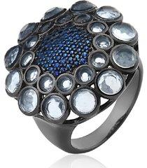 anel cristais redondos topázio azul banhado a ródio negro
