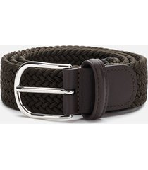 anderson's men's polished silver buckle woven belt - green - w36/xl