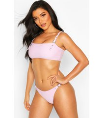 eyelet square bandeau bikini, lilac