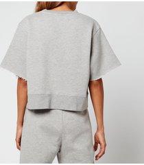 simon miller women's clio oversized cropped sweatshirt - heather grey - l