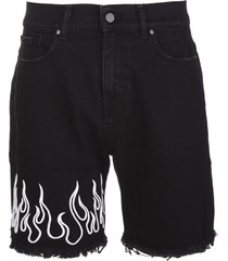 man black bermuda with white embroidered flames