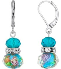 2028 silver tone aqua blue pink floral beaded drop wire earring