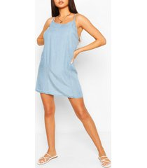 loshangende chambray jurk met bandjes, light blue