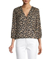 ava & aiden women's leopard-print twist-front top - natural leopard - size xs