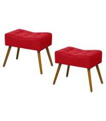 kit 02 puffs banqueta retangular suede liso vermelho - ds móveis
