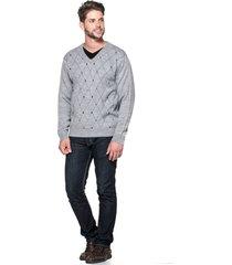 suéter passion tricot jacar losango cinza - kanui
