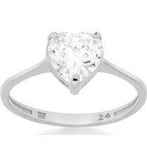 anel skinny ring solitário zircônia coração rommanel