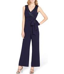 women's tahari sleeveless satin trim jumpsuit