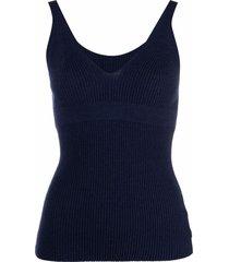 ami amalia ribbed-knit vest - blue