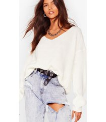 womens 'til v work it out knitted sweater - cream