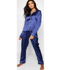 satijnen pyjama set met knopen en biezen, marineblauw