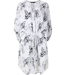 andrea marques printed parka dress - white