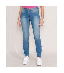 calça cigarrete jeans cintura média azul médio