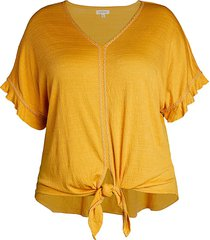 max studio women's plus knotted v-neck top - ivory - size 2x (18-20)