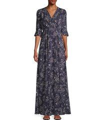 gal meets glam women's floral faux-wrap maxi dress - stone - size 00